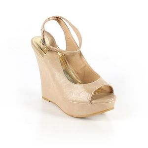 Bamboo nude wedge platform heels